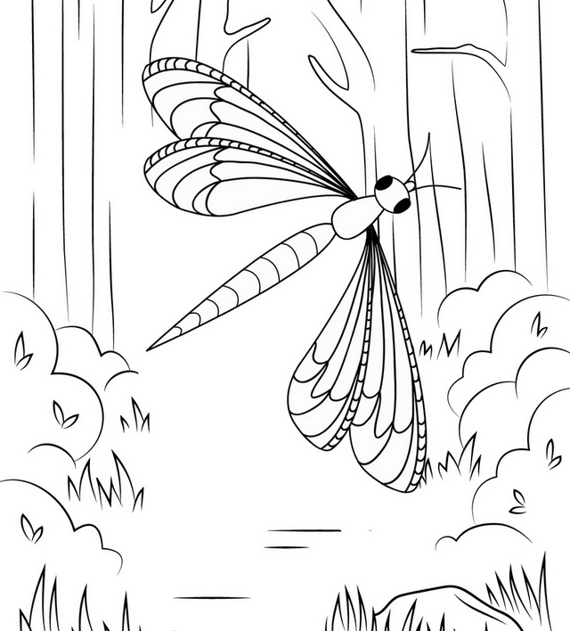 dragonfly in forest coloring page