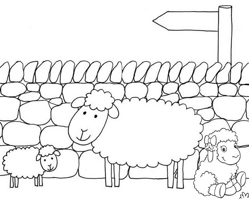 family sheep cartoon coloring page