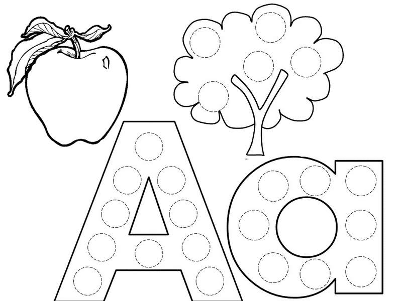 letter a coloring pages apple tree Coloring4free