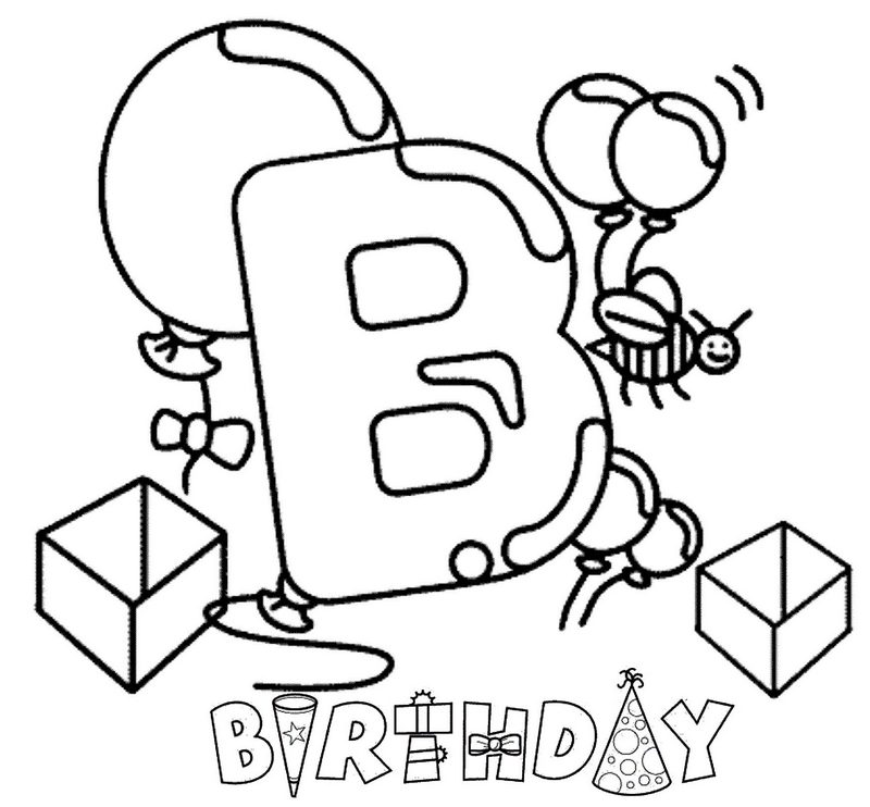 letter b for birthday themed coloring pages