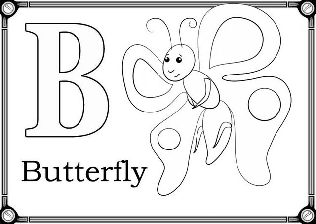 letter b for butterfly coloring page for preschool students