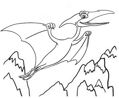 pterodactyl dino coloring page