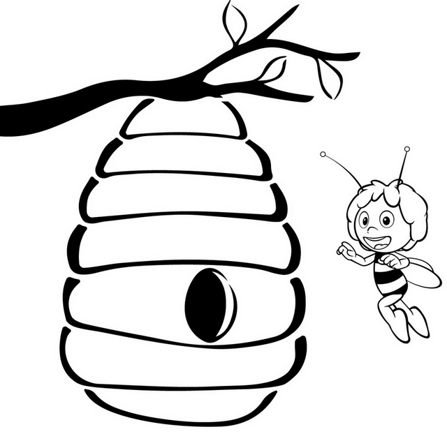 Beehive Cartoon Hanging on the tree Coloring Page