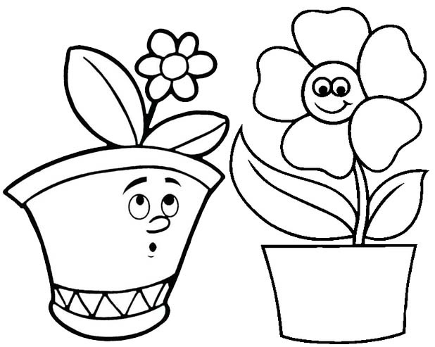 Cute Flower Pot Cartoon Coloring Page