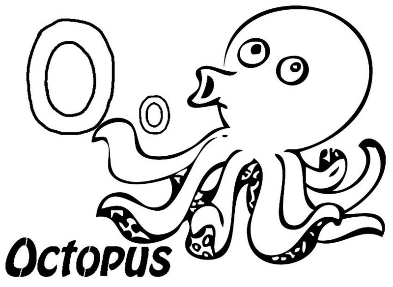 Cute Letter O for Octopus Coloring Page