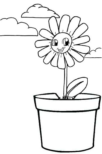 Flower pot Smiling coloring page