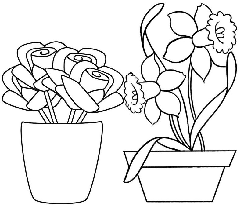 Fresh Flower Pot Coloring Page