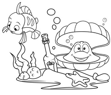 Funny Oyster and Flounder Coloring Page