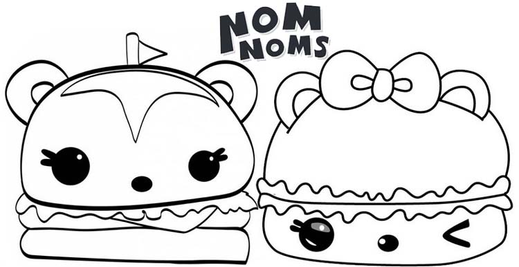 Hammy Burger and Smores Gloss Upfrom Num Noms Coloring Page