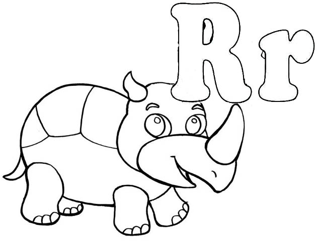 Letter R for rhinoceros coloring page