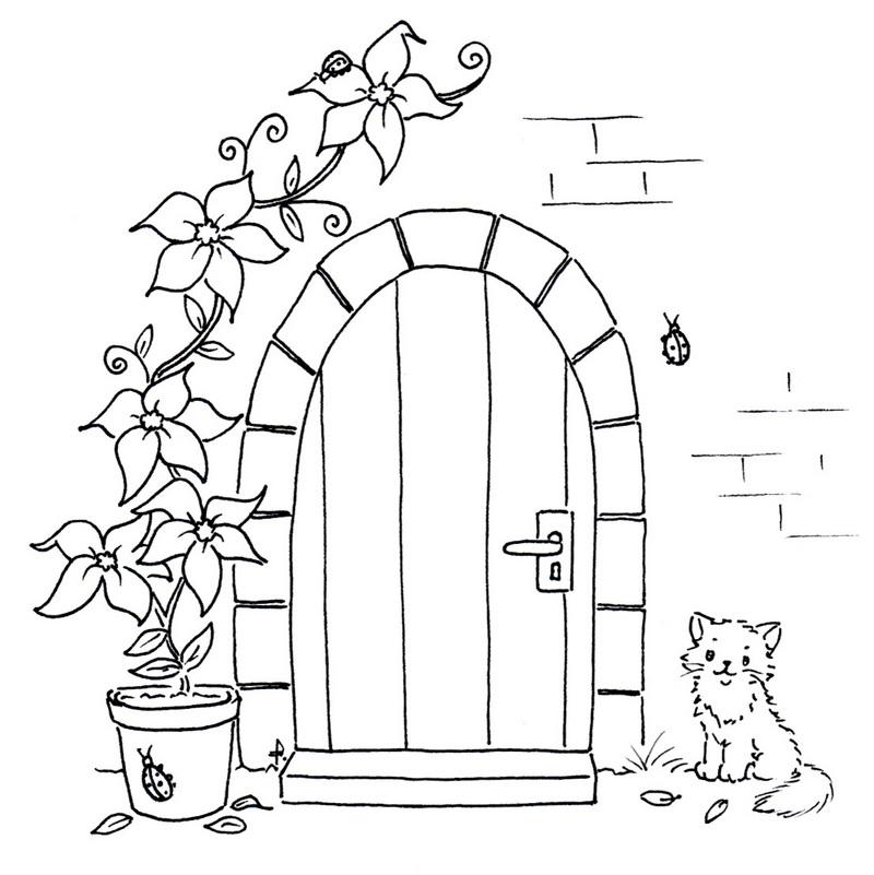 Mediterranean House Entrance Door Coloring Page