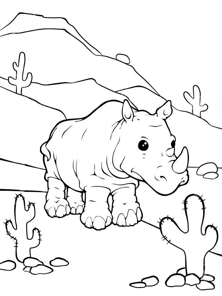 Rhino Africa Safari Coloring Page