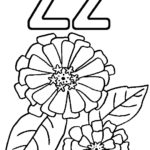 Zinnia Flower Alphabet Z Coloring Page for Kids