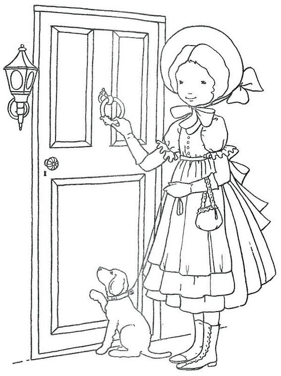 a girl knocking at the composite door house coloring page