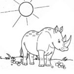 a sad rhino cartoon coloring page