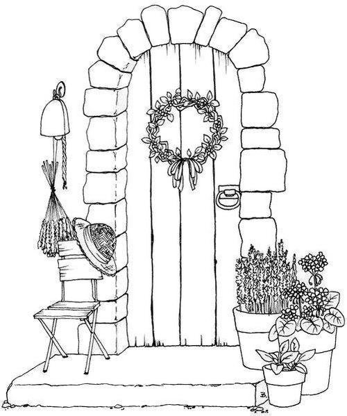 architecture house doors window flower coloring page