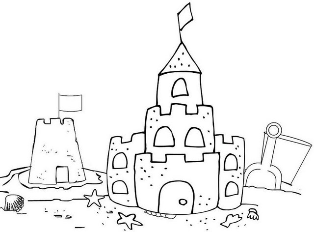 beautiful sand castle coloring page