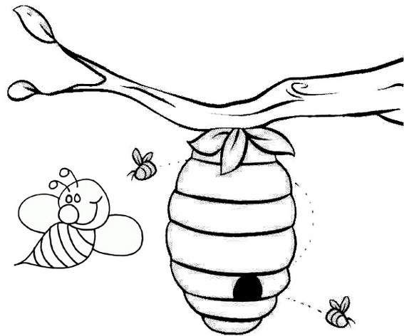 beehive hanging from a tree coloring page