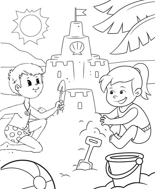 boy and girl building sand castle coloring page of beach