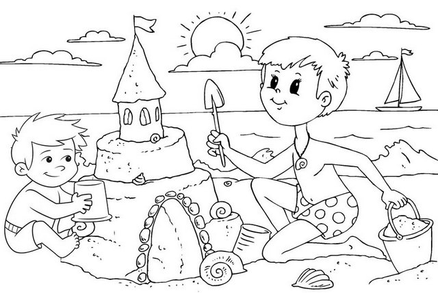 boys building sand castle coloring page