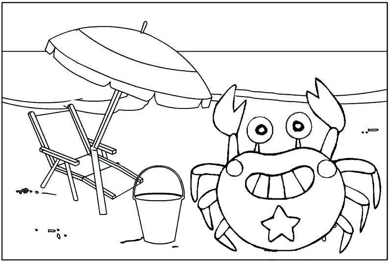 crab cartoon with a beach umbrella coloring page
