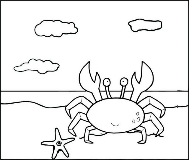 crab on the coast coloring pages