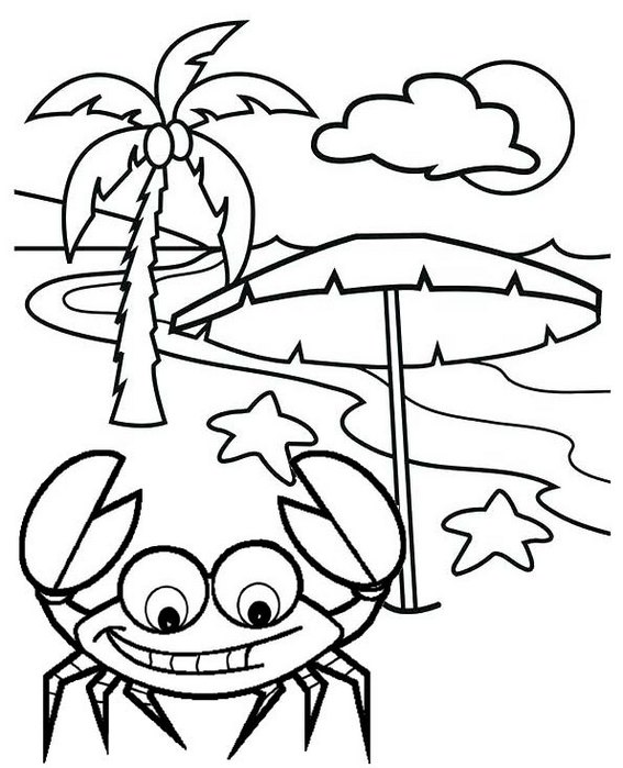 crab running on the coast of beach coloring page