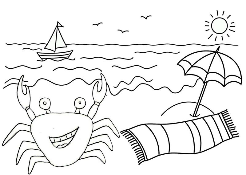 crab with wonderful beach scenery coloring page