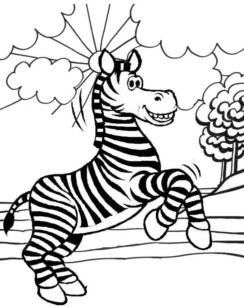 cute cartoon zebra coloring page