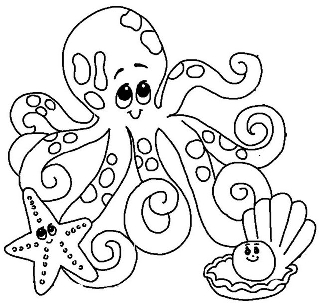 cute octopus starfish pearl shell coloring page
