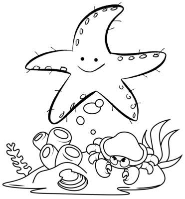 cute starfish coloring page for kids