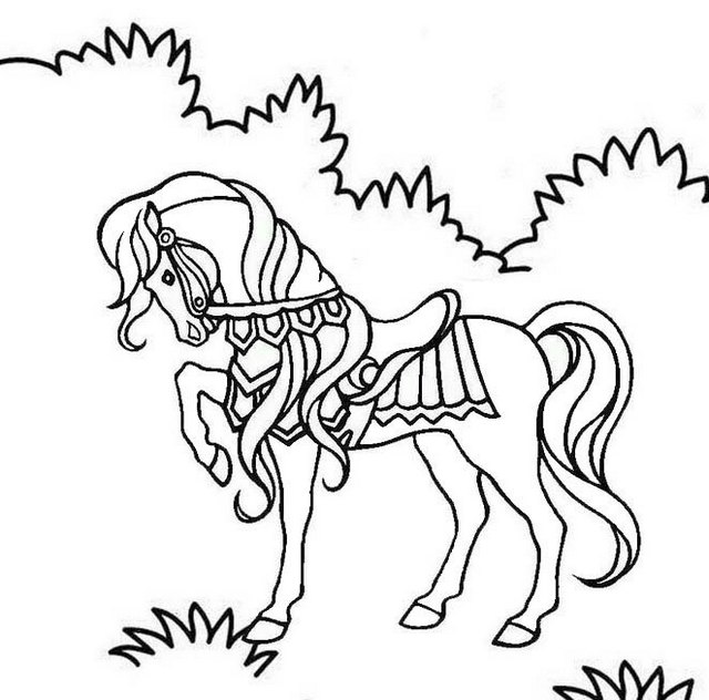 decorated horse coloring page
