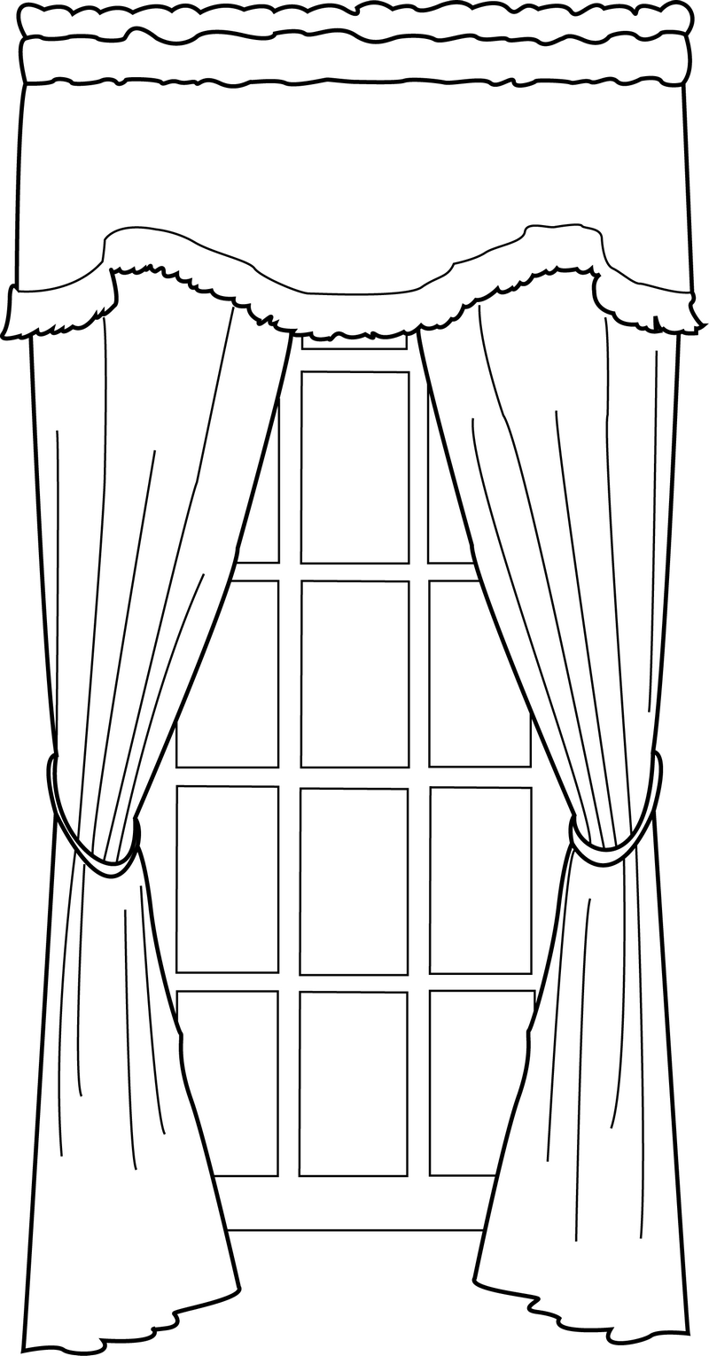 door with curtains coloring page