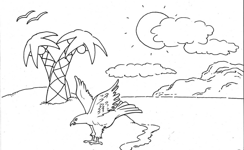 eagle with beach background scenery coloring page