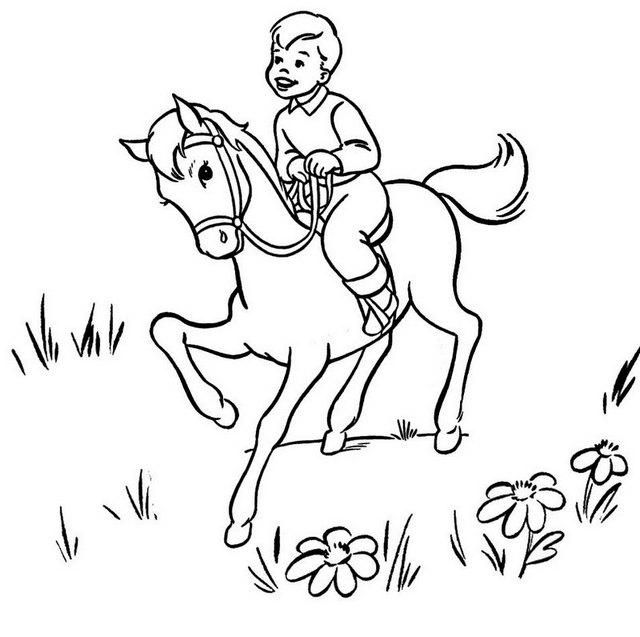 little boy riding horse coloring page