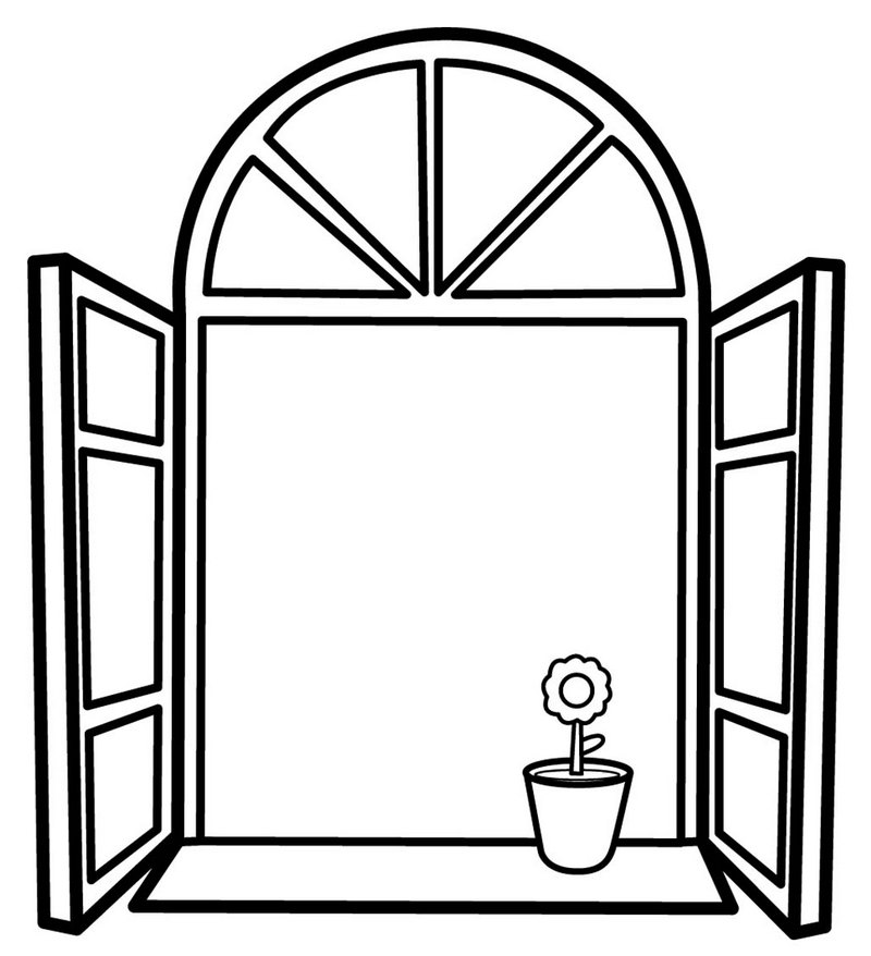 traditional window coloring page