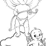 Best Cupid and baby with bows coloring page