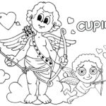 Cupid Standing on a Cloud Coloring Page