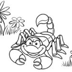 Cute Scorpion Cartoon Coloring Page