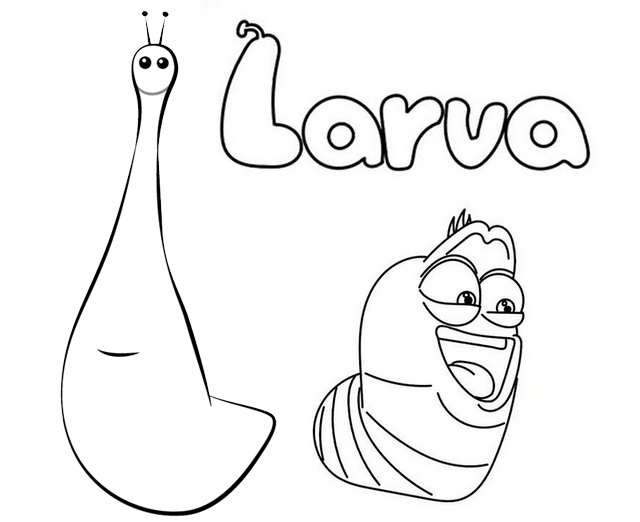 Larva Red and Violet Coloring Page for Kids
