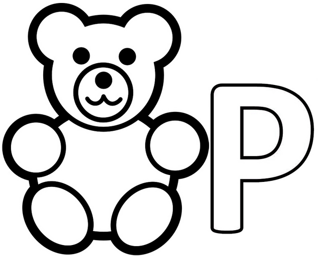 Letter P for Panda Coloring Page for Kids
