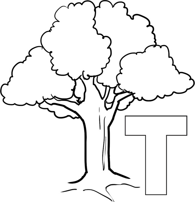 Letter T for Tree Coloring Page