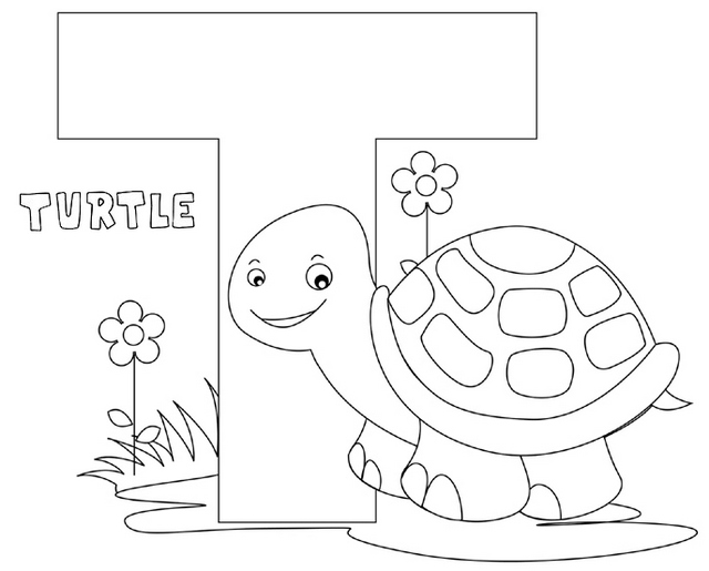 Letter T for Turtle Animal Coloring Page