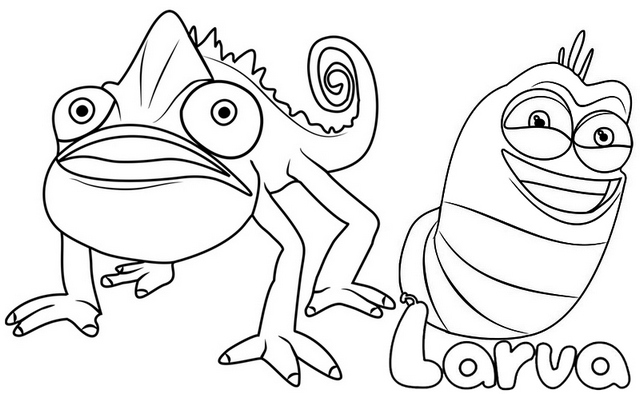 Prism Chameleon and Red Larva Coloring Page
