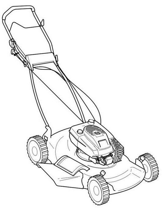 Product design of a lawn mower tool coloring page