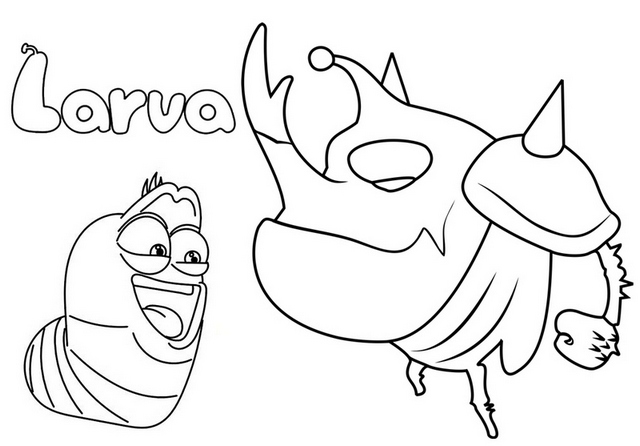 Red Larva and Black Frog Coloring Page