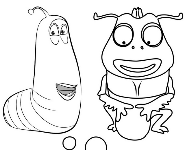 Yellow Larva and Brown Beetle Coloring Page