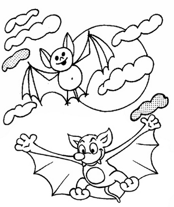 bat halloween themed coloring page