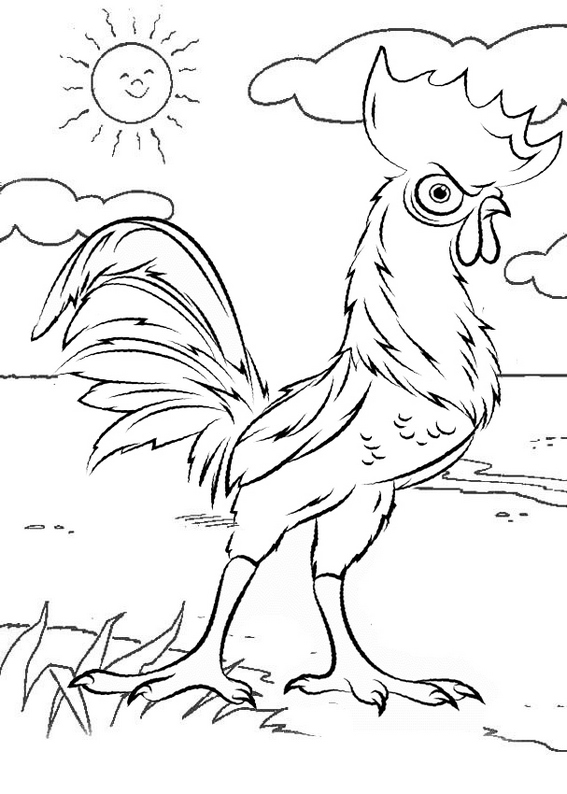 best sunny rooster coloring page