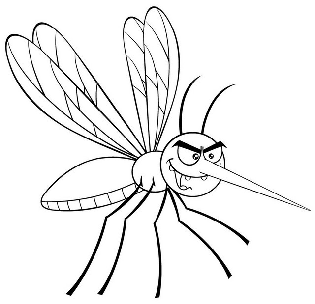 cute mosquito cartoon coloring page